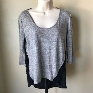 Ann Taylor Gray and Black Top Size M